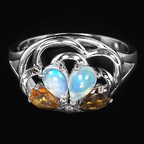 Кольцо серебряное 925 с натуральн. камнями р17.35
