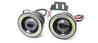 Противотуманные LED фары (птф) светодиодные 10w, 64 мм с ангельскими глазками, фото 1