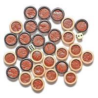 Фишки деревянные с углублением и кожей внутри