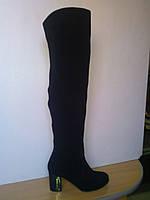 Сапоги-ботфорты женские осенние замшевые