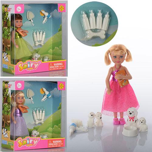Кукла DEFA 8297  13см,собачка,щенки3шт,бутылочки,миска,расческа,фен,3вида,в кор-ке,15-16,5-6см