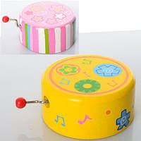 Деревянная игрушка Шарманка MD 0697  муз, 2 вида, в кульке, 7-7-3,5 см