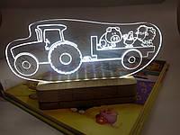 Светильник ночник светодиодный для детской комнаты Трактор с животными