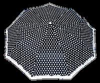 Женский зонт полуавтомат черный в белый горох, фото 1