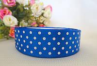 Атласная лента в горошек 2,5 см, цвет синий
