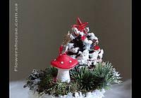 """Новогодняя, рождественская композиция со свечой """"Лесная сказка"""""""