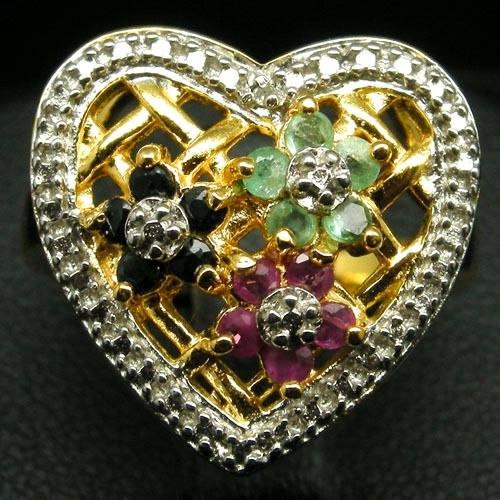 Серебряное Кольцо с натуральными РУБИНАМИ, САПФИРАМИ и ИЗУМРУДАМИ