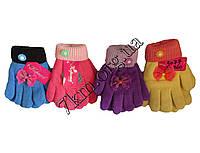 """Перчатки детские для девочек 5-7 лет (M) """"Ажурный бант"""" полуторные Оптом"""