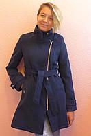 """Кашемировое пальто""""Косушка- стойка"""",синий, фото 1"""