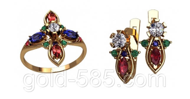 Стильный и современный золотой ювелирный набор 585  кольцо + серьги - Мастерская  ювелирных украшений « 172189984d4
