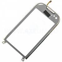 Сенсорный экран для мобильного телефона Nokia C7-00, серебряный, с рамкой