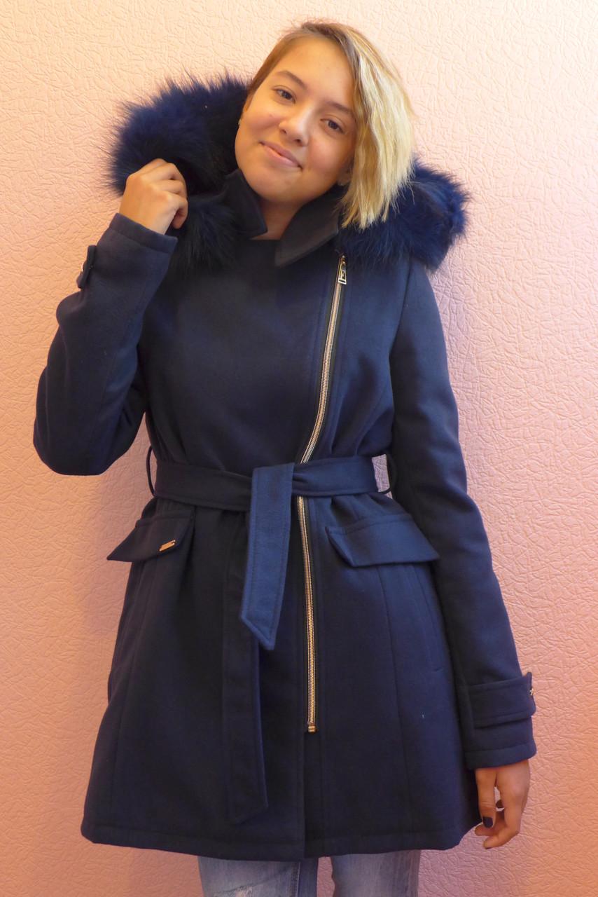 Детская одежда.   Пальто кашемировое-зимнее 16(синее)