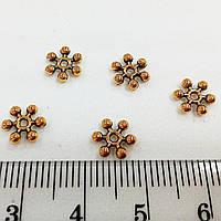 Разделитель для бусин, 8 мм, золото