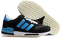 Кроссовки женские Adidas  ZX700 UK  Black Electric Blue (в стиле адидас)