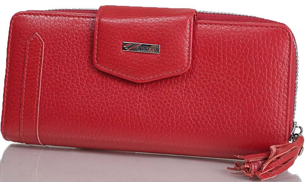Женский кошелек из натуральной кожи Desisan красный