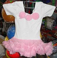 Купальник для танцев х\б с фатиновой юбкой бело-розовый