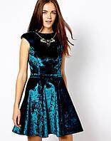 Велюровое расклешенное платье