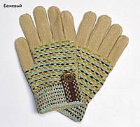 Перчатки Шахматы размер S. 7-9 лет. Бежевые, т.серый