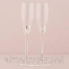 Свадебные бокалы на мельхиоровой ножке