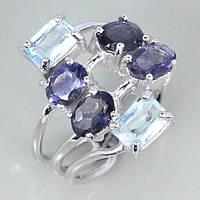 Кольцо с натуральными Небесно-Голубыми ТОПАЗАМИ и ИОЛИТАМИ