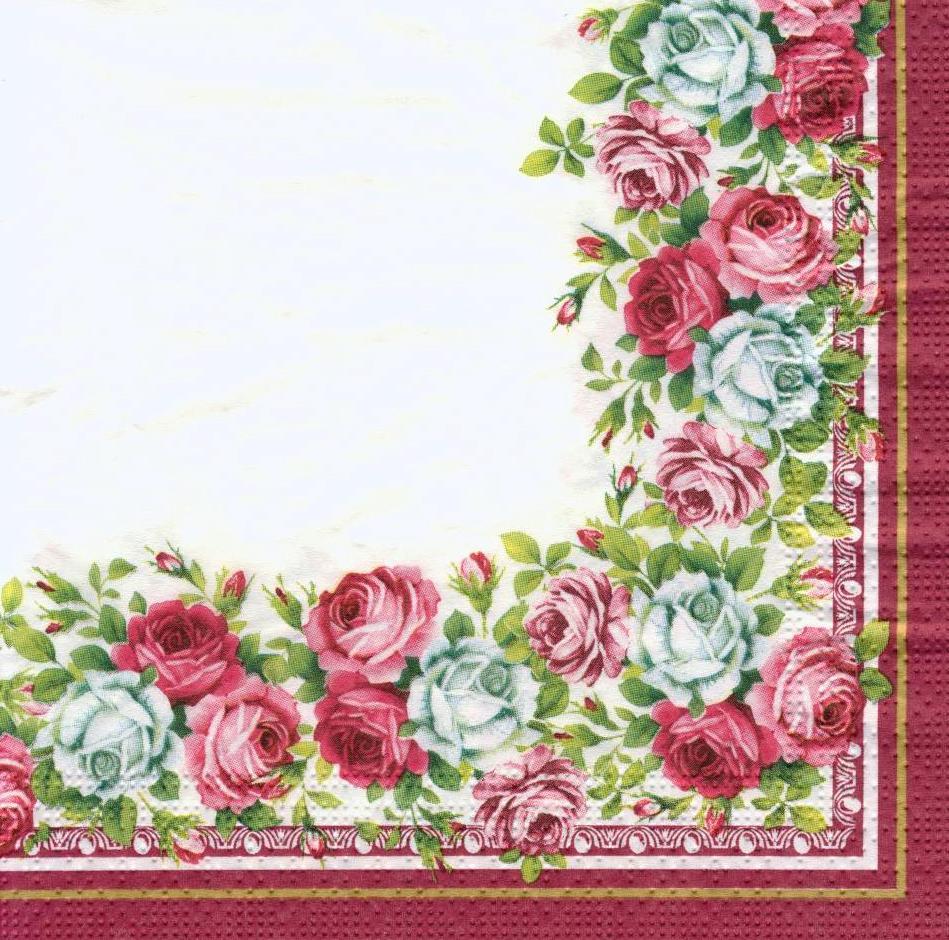 Салфетки декупажные Красивый розовый кант 6179