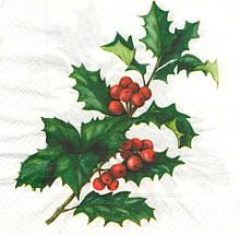 Салфетка декупажная Ветка с красными ягодами 6181