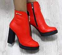 Ботильоны  демисезонные кожаные на каблуке, красные