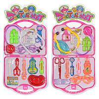 Доктор 3A-708 2 вида, стетоскоп, шприц, термометр, очки, ножницы, в чемоданчике