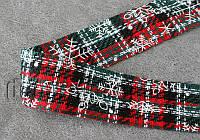 Лента тканевая шерс.красно-зеленая 4см/1м