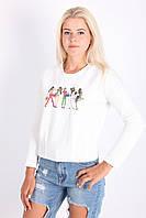 Стильная молодежная женская кофточка белого цвета