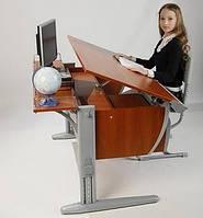 Стол СУТ.14 + Полка задняя СУТ.14.210 + Стул СУТ.01 яблоня/серый (пластик)