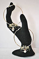 Серьги - кольца  с чешскими черными хрусталиками, фото 1