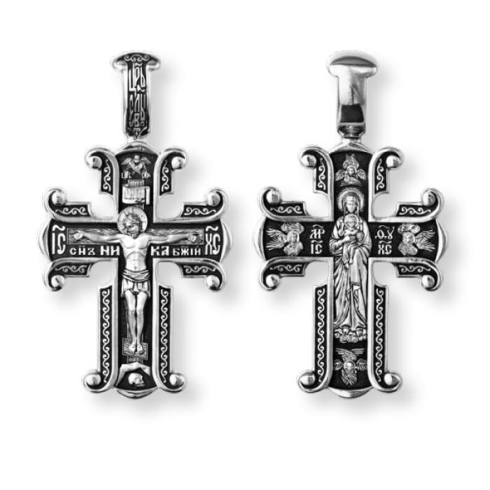 Православный серебряный крест Распятие Христово. Валаамская икона Божией Матери 8221