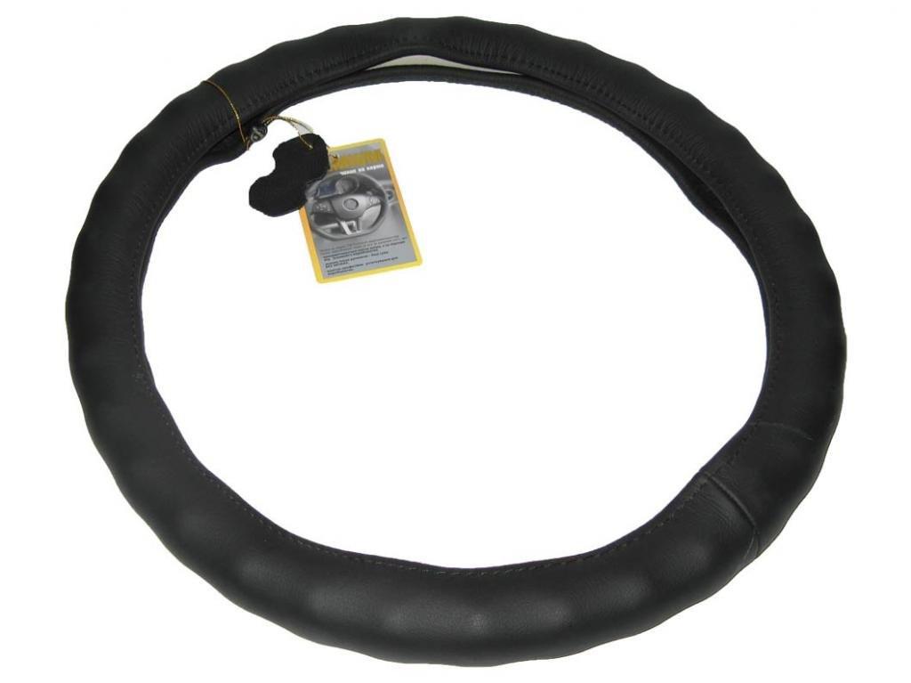 Кожаная оплетка чехол на руль размер M (37-39 см) кожа 121022 BK черн/один шов под пальцы (авто автомобиля)