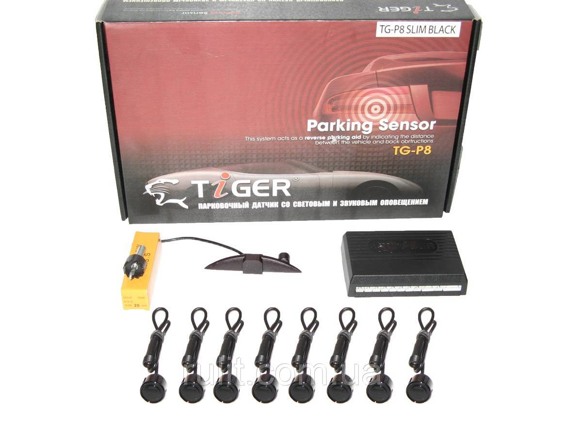 Парктроник TIGER TG-P8LED 8дат SLIM Black/black Парктроники