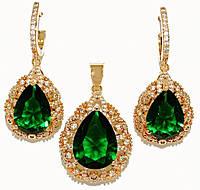 """Набор ХР """"кулон и серьги """"Цвет: позолота; Камни: зелёный циркон и россыпь белых фианитов.Диаметр: 1,5см"""