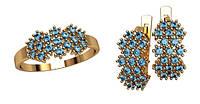 Обворожительный золотой ювелирный набор из кольца и сережек