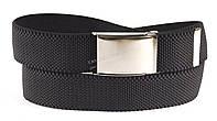 Ремень мужской текстильный резинка черного цвета серебристая пряжка