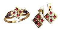 Современный золотой ювелирный набор из кольца и сережек 585*