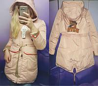 Женская стильная куртка-парка нашивкой на спине, в расцветках