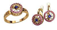 Модный золотой ювелирный набор из кольца и сережек 585* пробы