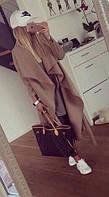 Кашемировое пальто бежевое с поясом