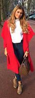 Кашемировое пальто красное с поясом