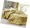 Атласный золотой комплект: полуторный, двуспальный, евро, семейный