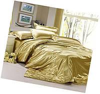 Атласный полуторный, двуспальный, евро, семейный постельный комплект, золотой