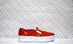 Слипоны женские стильные натуральная кожа красные, фото 2