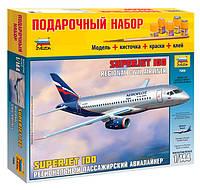 Подарочный набор сборная модель Zvezda (1:144) Региональный пассажирский авиалайнер Superjet 100