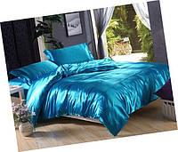 Атласный полуторный, двуспальный, евро, семейный постельный комплект, бирюзовый