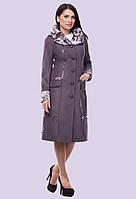 Женское демисезонное пальто плащ с касивым воротником большого размера 50-64 размер, фото 1
