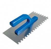 Гладилка стальная с нержавеющим покрытием, пластмассовая ручка 120х280мм, зуб10х10мм, код 708-04
